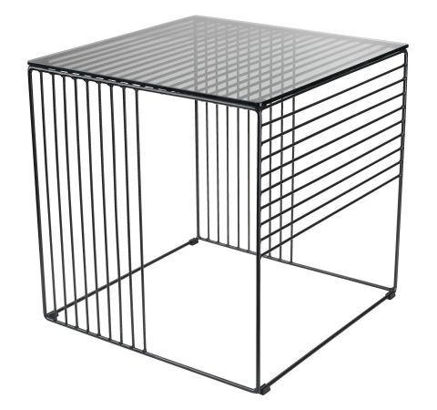End table SQUARE 40x40 black/glass