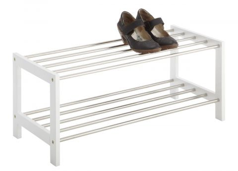 Shoe rack EGESKOV 2 shelves metal/white