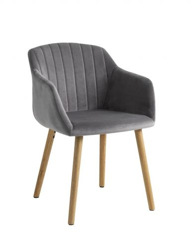 Dining chair ADSLEV velvet grey/oak