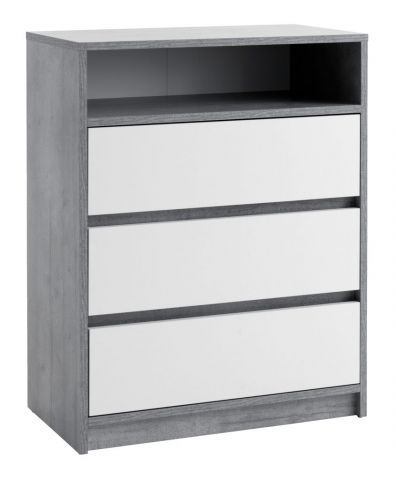 3 drawers chest BILLUND white/concrete