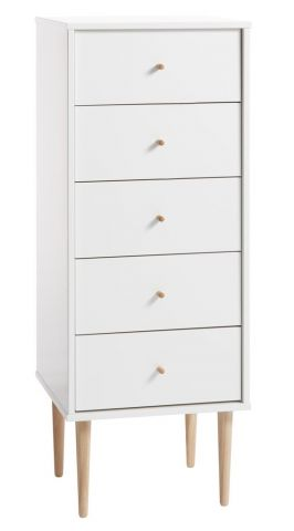 IDOMLUND 5 drawer chest slim white/oak