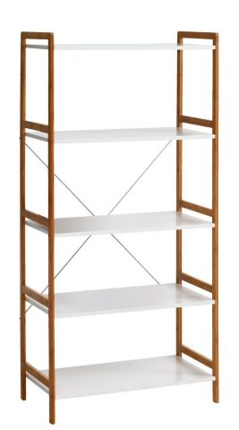 Shelving unit BROBY 5s wide bamboo/white
