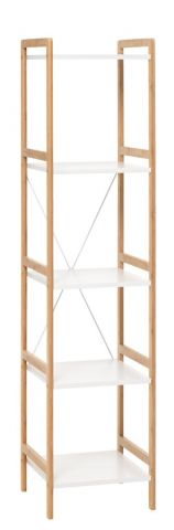 Shelving unit BROBY 5s slim bamboo/white