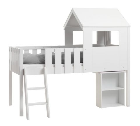 Low loft bed BAKHUSE 90x200 white