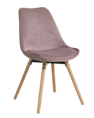 Dining chair KASTRUP velvet rose/oak
