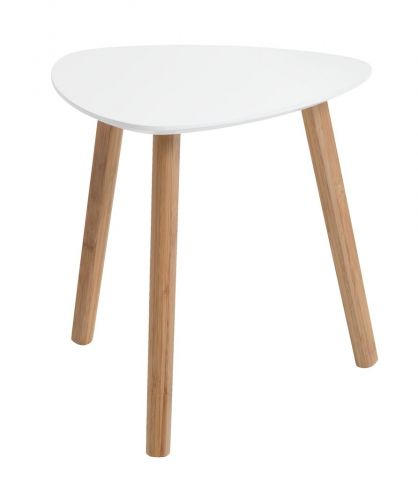 End table TAPS 40x40 white/bamboo