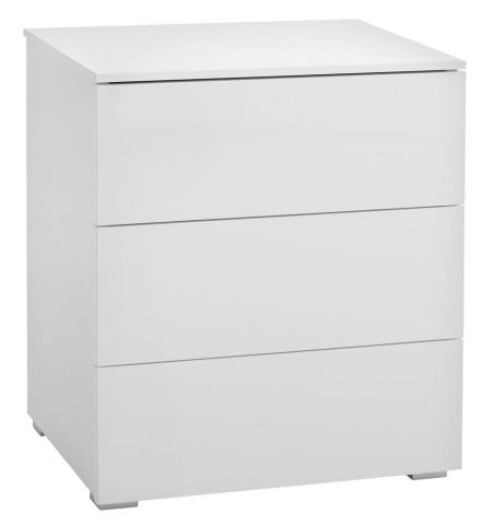 Bedside table OLDRUP white high gloss