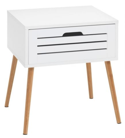 Bedside table BROBY 1 draw bamboowhite