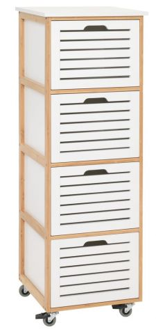BROBY 4 drawer chest castor bamboo/white