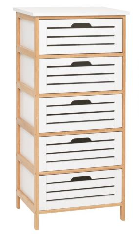 BROBY 5 drawer chest bamboo/white