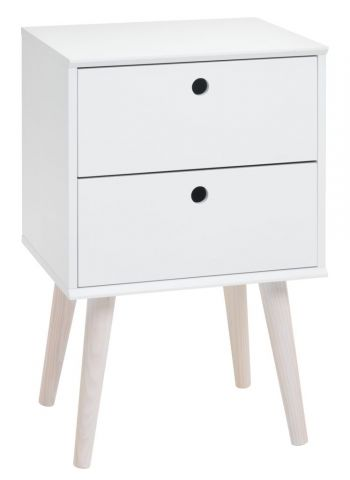 !Bedside table OPLEV 2 drawers white/pine