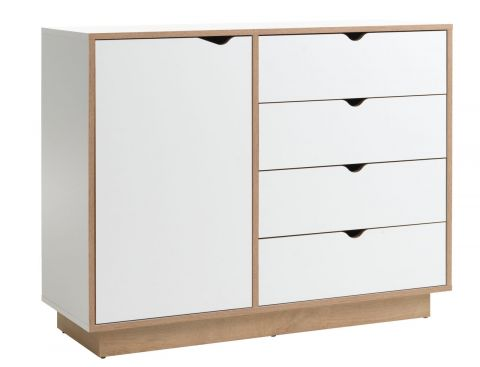 MAMMEN 4 drawer 1 door chest white/oak