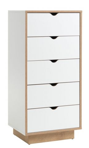MAMMEN 5 drawer chest slim white/oak