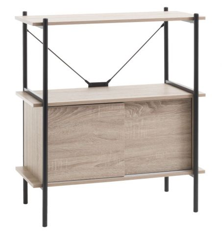 Shelving unit VANDBORG 2 s/2 d oak/black