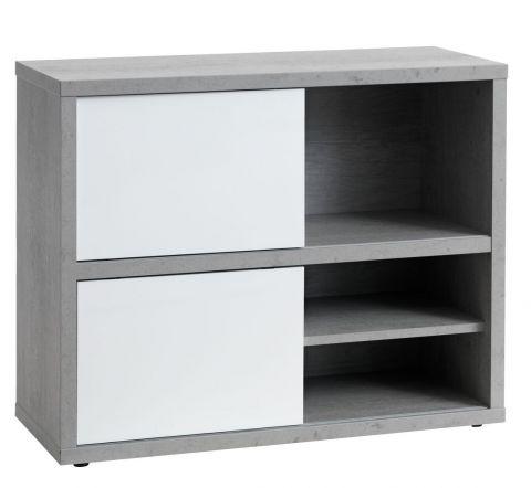 Bookcase ULLITS 3 sh. concrete/highgloss