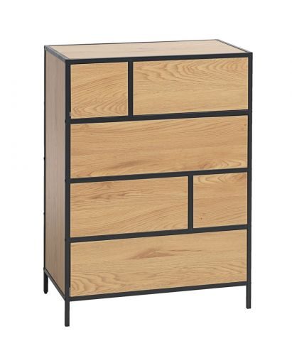 6 drawer chest TRAPPEDAL oak/black