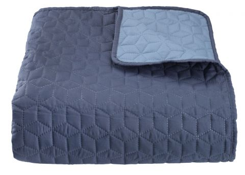 Bed throw ROSENTRE 220x240 dk./dus. blue