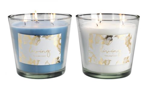 Candle OLE 13xH13cm wglass assorted